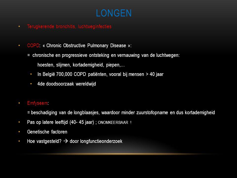 LONGEN • Terugkerende bronchitis, luchtweginfecties • COPD: « Chronic Obstructive Pulmonary Disease »: = chronische en progressieve ontsteking en vern