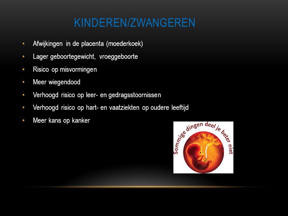 KINDEREN/ZWANGEREN • Afwijkingen in de placenta (moederkoek) • Lager geboortegewicht, vroeggeboorte • Risico op misvormingen • Meer wiegendood • Verho