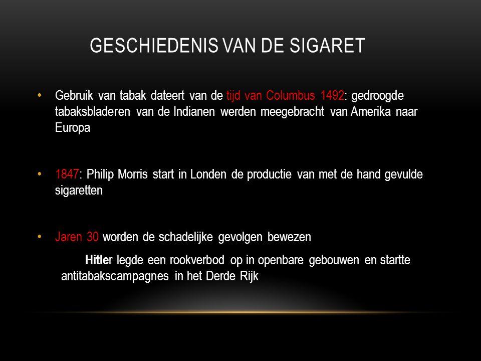 GESCHIEDENIS VAN DE SIGARET • Gebruik van tabak dateert van de tijd van Columbus 1492: gedroogde tabaksbladeren van de Indianen werden meegebracht van