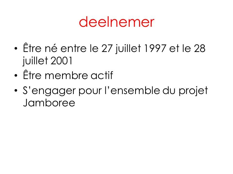 deelnemer • Être né entre le 27 juillet 1997 et le 28 juillet 2001 • Être membre actif • S'engager pour l'ensemble du projet Jamboree