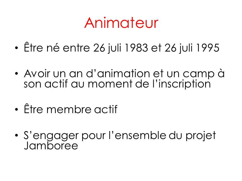 Animateur • Être né entre 26 juli 1983 et 26 juli 1995 • Avoir un an d'animation et un camp à son actif au moment de l'inscription • Être membre actif • S'engager pour l'ensemble du projet Jamboree