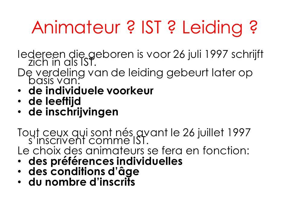 Animateur ? IST ? Leiding ? Iedereen die geboren is voor 26 juli 1997 schrijft zich in als IST. De verdeling van de leiding gebeurt later op basis van