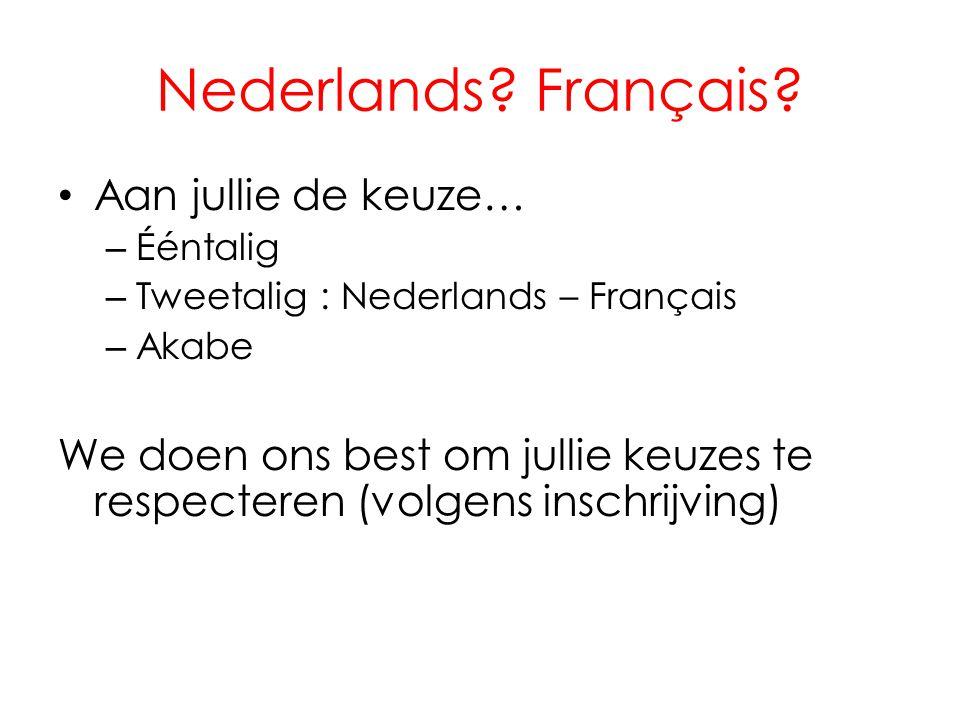 Nederlands? Français? • Aan jullie de keuze… – Ééntalig – Tweetalig : Nederlands – Français – Akabe We doen ons best om jullie keuzes te respecteren (