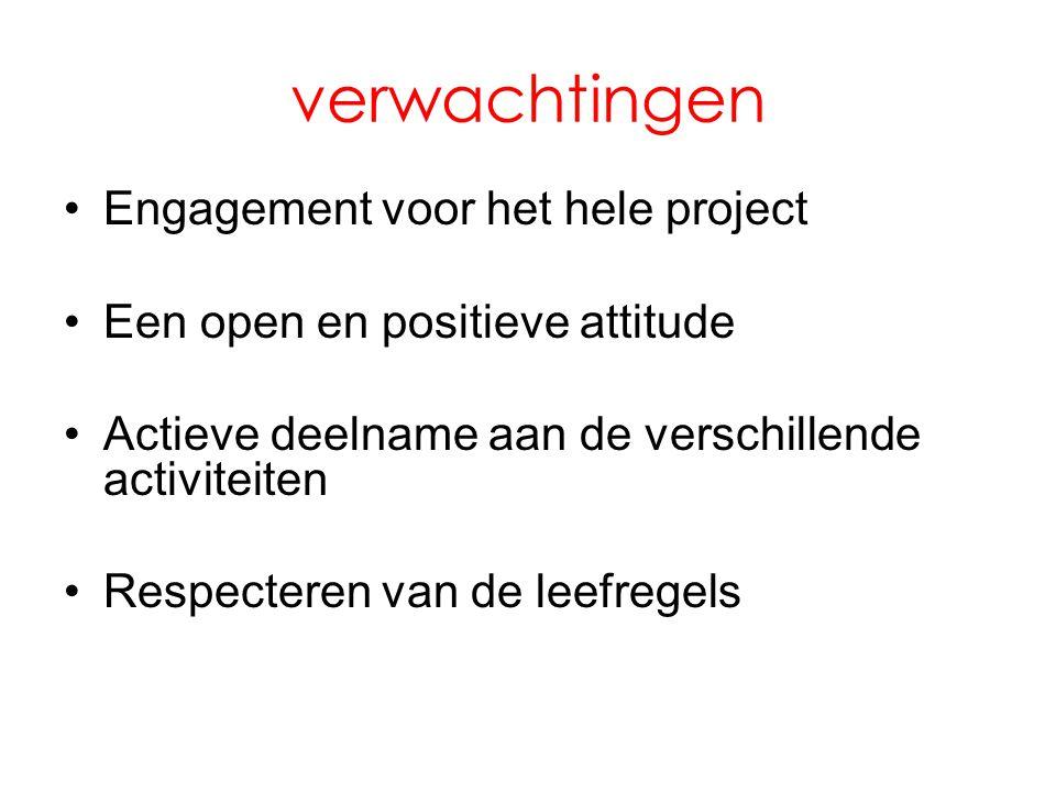 verwachtingen •Engagement voor het hele project •Een open en positieve attitude •Actieve deelname aan de verschillende activiteiten •Respecteren van d