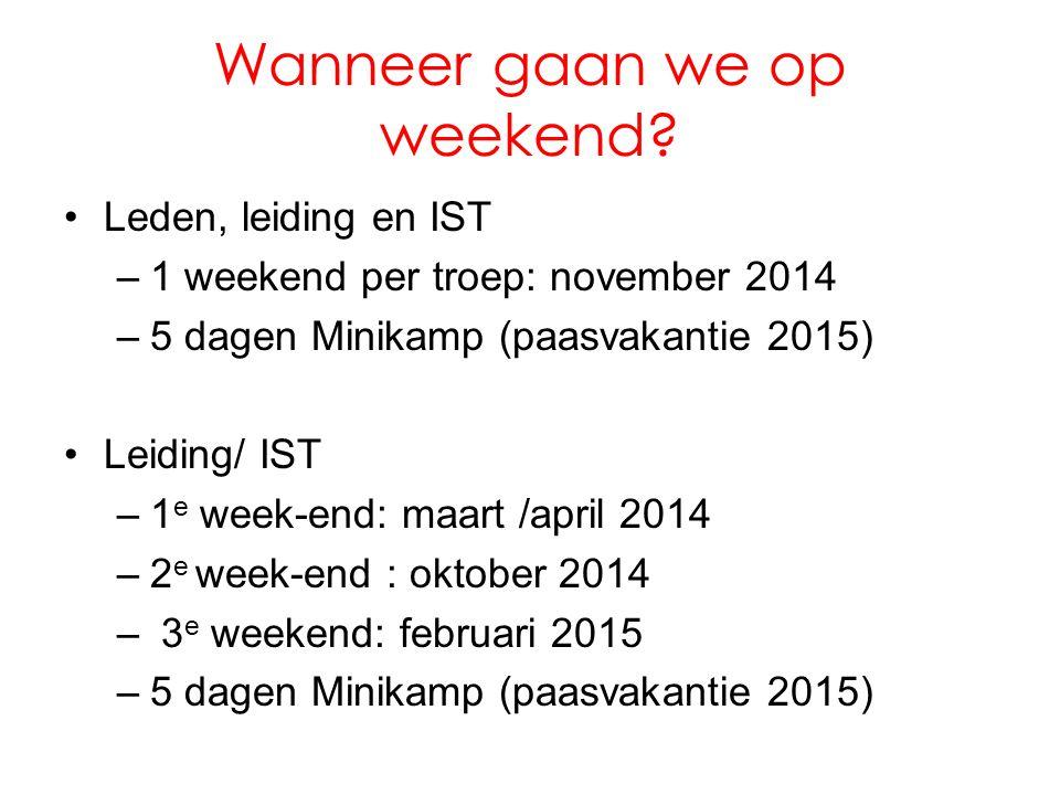 Wanneer gaan we op weekend? •Leden, leiding en IST –1 weekend per troep: november 2014 –5 dagen Minikamp (paasvakantie 2015) •Leiding/ IST –1 e week-e