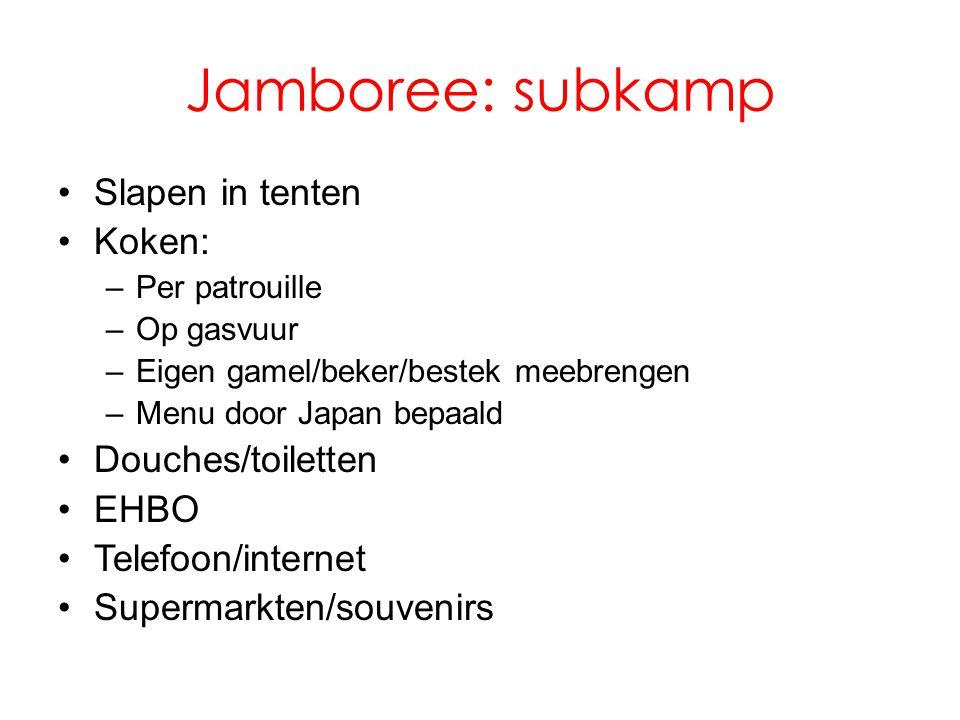 Jamboree: subkamp •Slapen in tenten •Koken: –Per patrouille –Op gasvuur –Eigen gamel/beker/bestek meebrengen –Menu door Japan bepaald •Douches/toiletten •EHBO •Telefoon/internet •Supermarkten/souvenirs