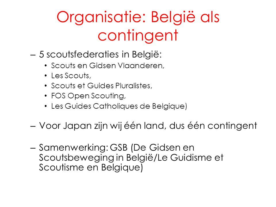 Organisatie: België als contingent – 5 scoutsfederaties in België: • Scouts en Gidsen Vlaanderen, • Les Scouts, • Scouts et Guides Pluralistes, • FOS Open Scouting, • Les Guides Catholiques de Belgique) – Voor Japan zijn wij één land, dus één contingent – Samenwerking: GSB (De Gidsen en Scoutsbeweging in België/Le Guidisme et Scoutisme en Belgique)