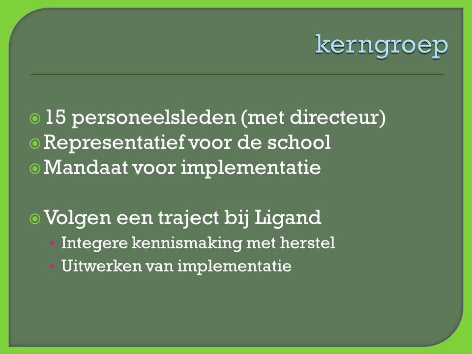  15 personeelsleden (met directeur)  Representatief voor de school  Mandaat voor implementatie  Volgen een traject bij Ligand • Integere kennismak