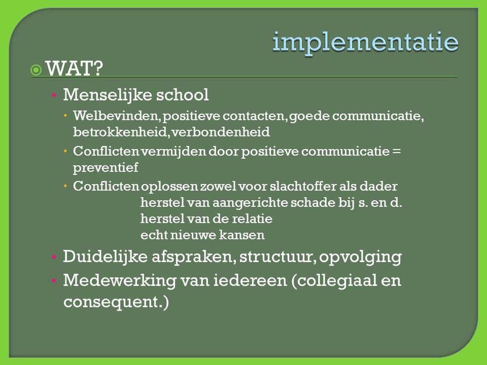  WAT? • Menselijke school  Welbevinden, positieve contacten, goede communicatie, betrokkenheid, verbondenheid  Conflicten vermijden door positieve