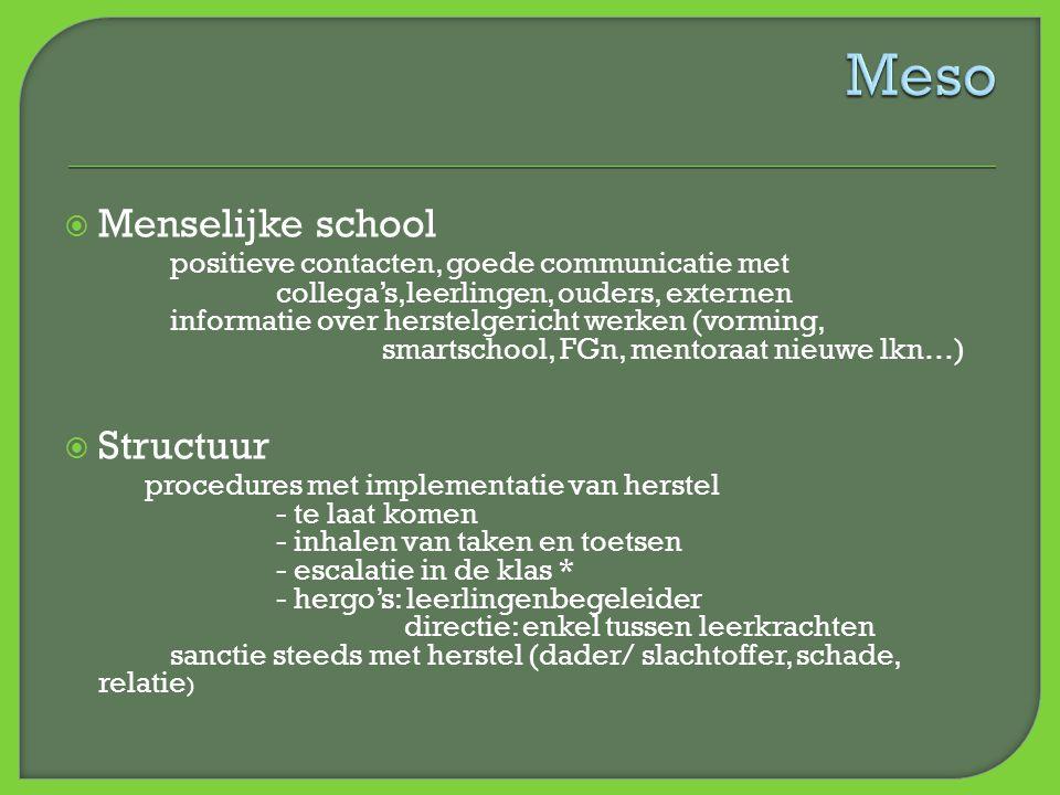  Menselijke school positieve contacten, goede communicatie met collega's,leerlingen, ouders, externen informatie over herstelgericht werken (vorming,