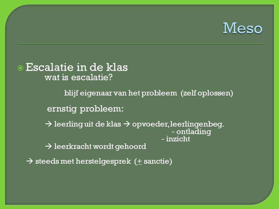  Escalatie in de klas wat is escalatie? blijf eigenaar van het probleem (zelf oplossen) ernstig probleem:  leerling uit de klas  opvoeder, leerling