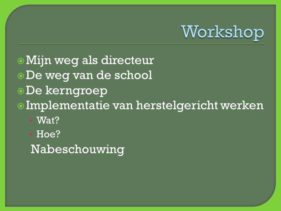  Mijn weg als directeur  De weg van de school  De kerngroep  Implementatie van herstelgericht werken • Wat? • Hoe? Nabeschouwing