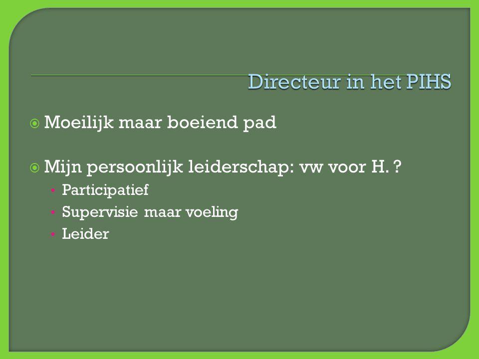  Moeilijk maar boeiend pad  Mijn persoonlijk leiderschap: vw voor H. ? • Participatief • Supervisie maar voeling • Leider
