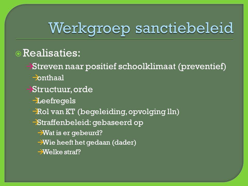  Realisaties:  Streven naar positief schoolklimaat (preventief)  onthaal  Structuur, orde  Leefregels  Rol van KT (begeleiding, opvolging lln) 