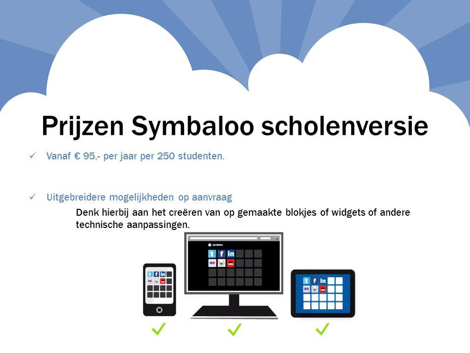 Prijzen Symbaloo scholenversie  Vanaf € 95,- per jaar per 250 studenten.