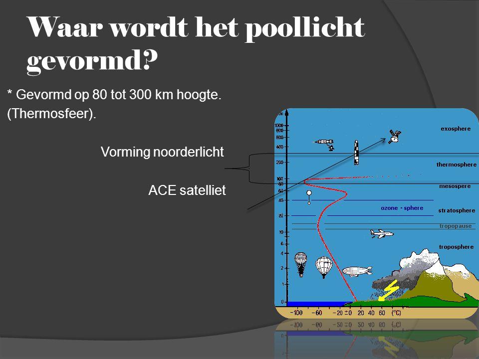 Waar wordt het poollicht gevormd? * Gevormd op 80 tot 300 km hoogte. (Thermosfeer). Vorming noorderlicht ACE satelliet