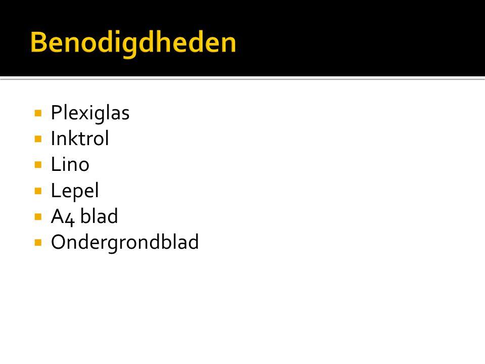 Plexiglas  Inktrol  Lino  Lepel  A4 blad  Ondergrondblad
