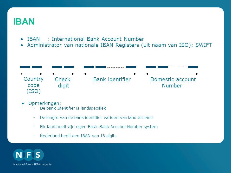 IBAN •IBAN: International Bank Account Number •Administrator van nationale IBAN Registers (uit naam van ISO): SWIFT Country code (ISO) Bank identifierCheck digit Domestic account Number •Opmerkingen: -De bank Identifier is landspecifiek -De lengte van de bank identifier varieert van land tot land -Elk land heeft zijn eigen Basic Bank Account Number system -Nederland heeft een IBAN van 18 digits