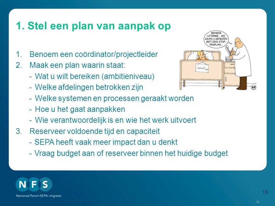 1. Stel een plan van aanpak op 1.Benoem een coördinator/projectleider 2.Maak een plan waarin staat: -Wat u wilt bereiken (ambitieniveau) -Welke afdeli