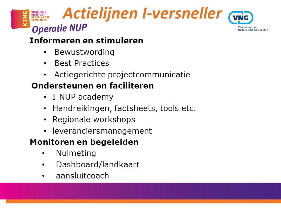 Informeren en stimuleren • Bewustwording • Best Practices • Actiegerichte projectcommunicatie Ondersteunen en faciliteren • I-NUP academy • Handreikin