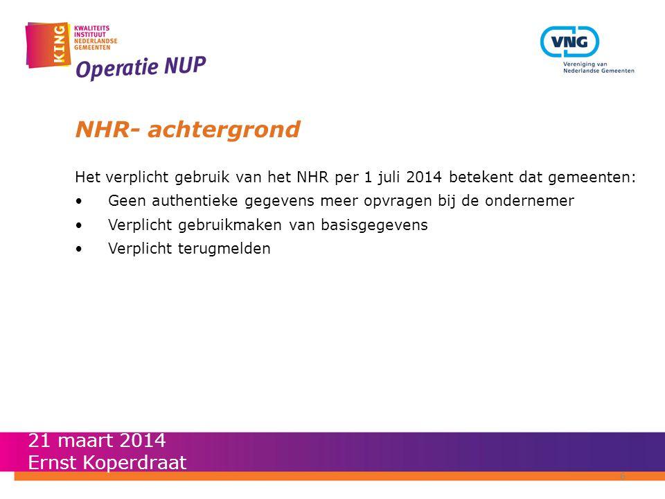 NHR- achtergrond Het verplicht gebruik van het NHR per 1 juli 2014 betekent dat gemeenten: •Geen authentieke gegevens meer opvragen bij de ondernemer