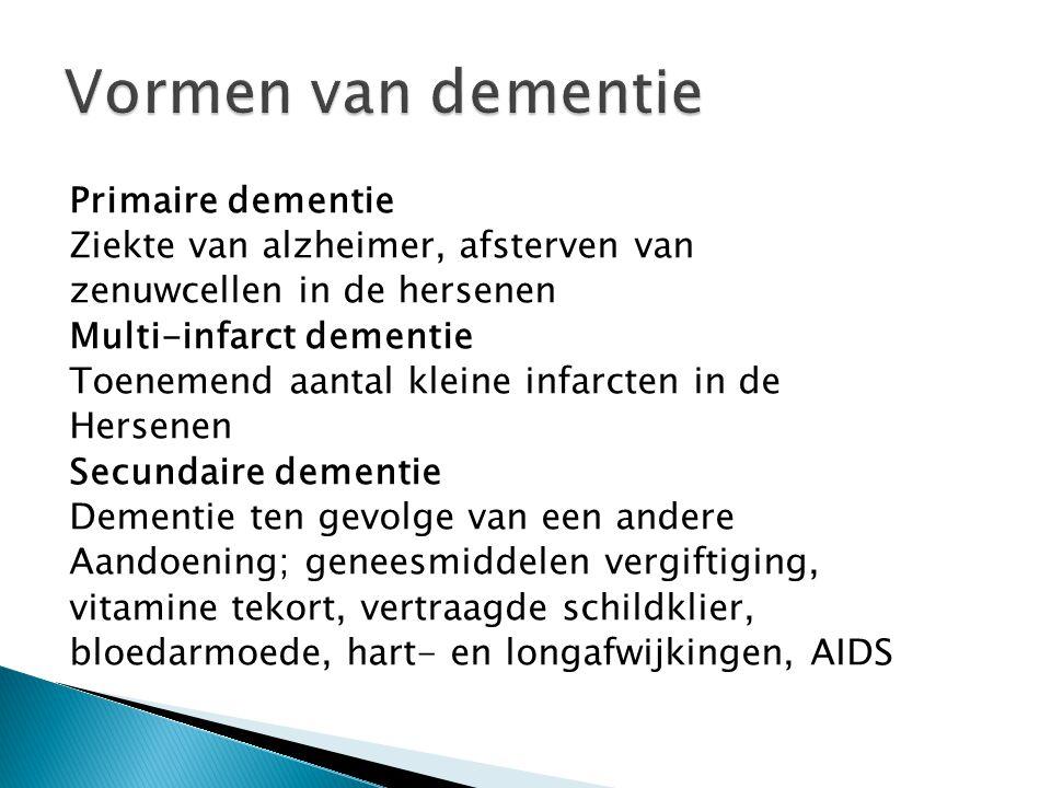 Primaire dementie Ziekte van alzheimer, afsterven van zenuwcellen in de hersenen Multi-infarct dementie Toenemend aantal kleine infarcten in de Hersen