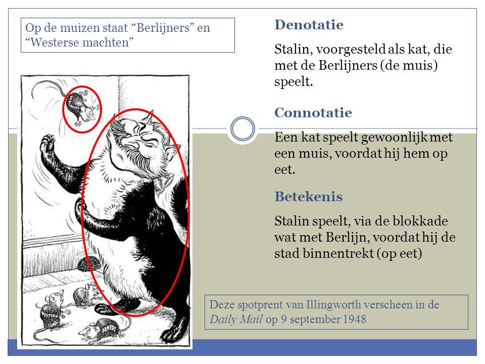 Denotatie Stalin, voorgesteld als kat, die met de Berlijners (de muis) speelt.