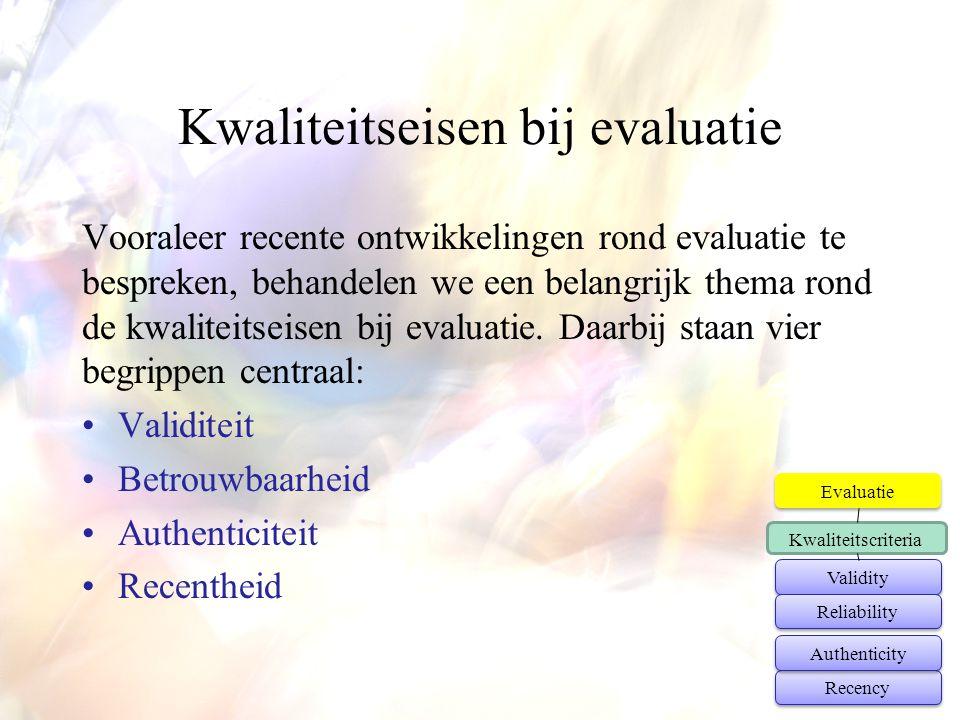 Kwaliteitseisen bij evaluatie Vooraleer recente ontwikkelingen rond evaluatie te bespreken, behandelen we een belangrijk thema rond de kwaliteitseisen
