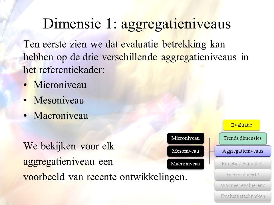 Dimensie 1: aggregatieniveaus Ten eerste zien we dat evaluatie betrekking kan hebben op de drie verschillende aggregatieniveaus in het referentiekader