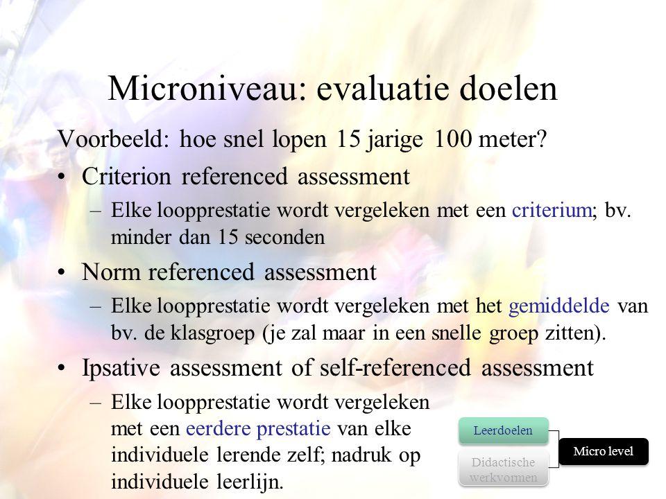 Microniveau: evaluatie doelen Voorbeeld: hoe snel lopen 15 jarige 100 meter? •Criterion referenced assessment –Elke loopprestatie wordt vergeleken met