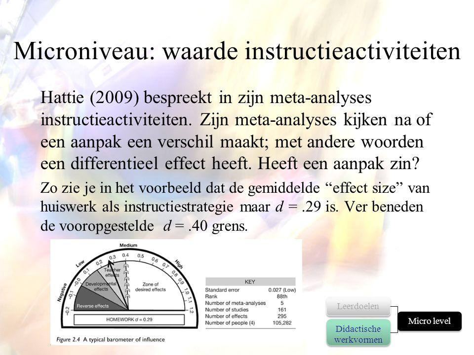 Microniveau: waarde instructieactiviteiten Hattie (2009) bespreekt in zijn meta-analyses instructieactiviteiten. Zijn meta-analyses kijken na of een a