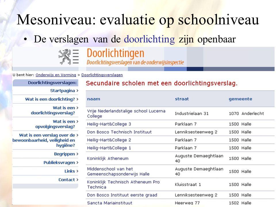 •De verslagen van de doorlichting zijn openbaar Mesoniveau: evaluatie op schoolniveau