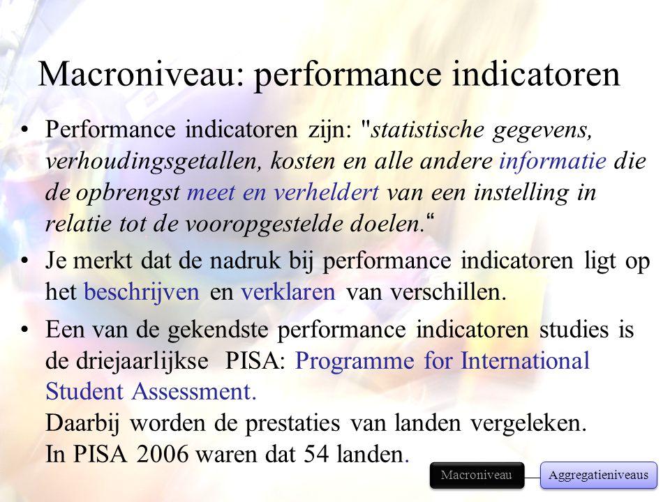 Macroniveau: performance indicatoren •Performance indicatoren zijn: