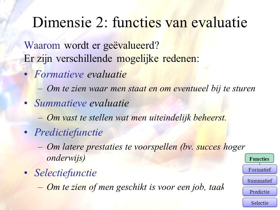 Dimensie 2: functies van evaluatie Waarom wordt er geëvalueerd? Er zijn verschillende mogelijke redenen: •Formatieve evaluatie –Om te zien waar men st