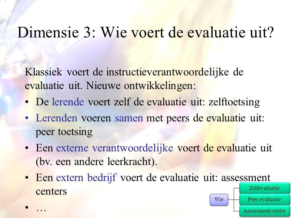 Klassiek voert de instructieverantwoordelijke de evaluatie uit. Nieuwe ontwikkelingen: •De lerende voert zelf de evaluatie uit: zelftoetsing •Lerenden