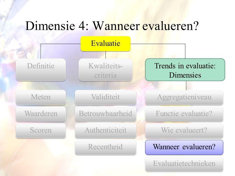 Dimensie 4: Wanneer evalueren? Evaluatie Aggregatieniveau Kwaliteits- criteria Trends in evaluatie: Dimensies Definitie Functie evaluatie? Wanneer eva