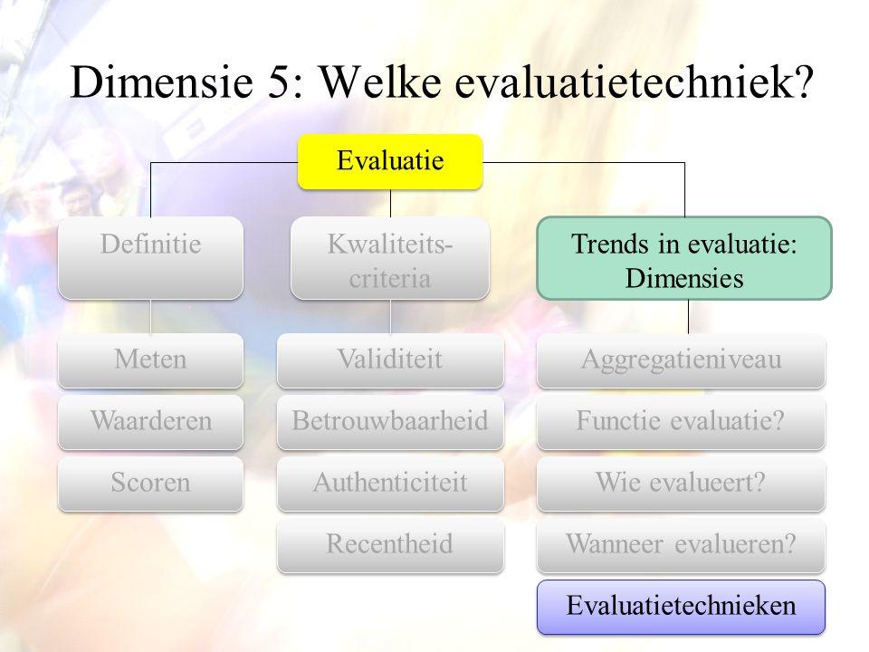Dimensie 5: Welke evaluatietechniek? Evaluatie Aggregatieniveau Kwaliteits- criteria Trends in evaluatie: Dimensies Definitie Functie evaluatie? Wanne
