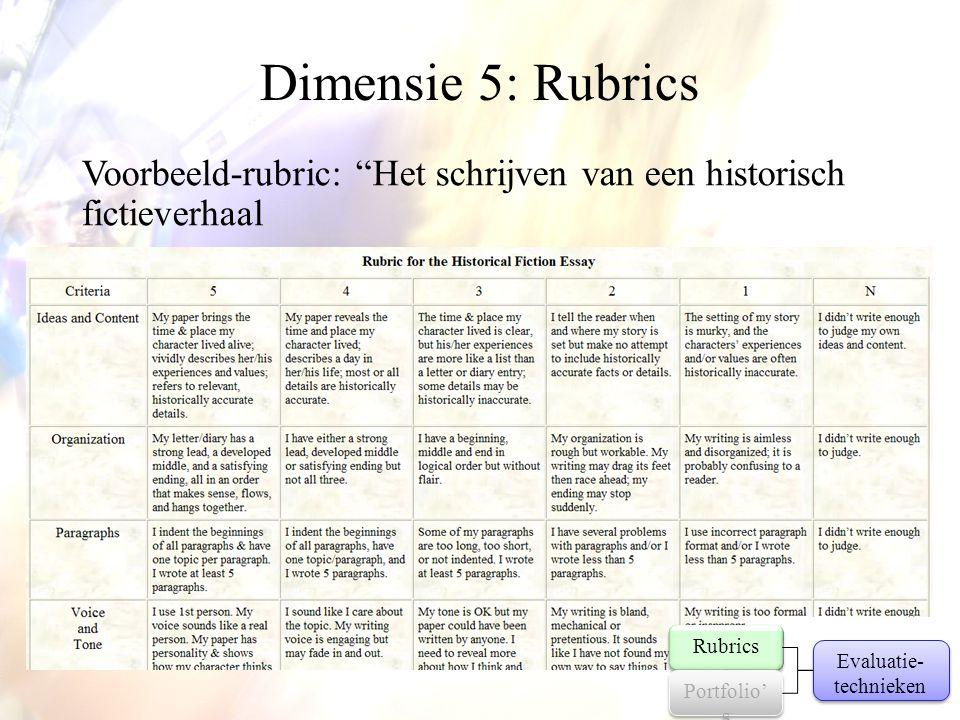 """Dimensie 5: Rubrics Voorbeeld-rubric: """"Het schrijven van een historisch fictieverhaal Evaluatie- technieken Rubrics Portfolio' s"""