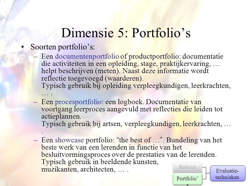 Dimensie 5: Portfolio's •Soorten portfolio's: –Een documentenportfolio of productportfolio: documentatie die activiteiten in een opleiding, stage, pra