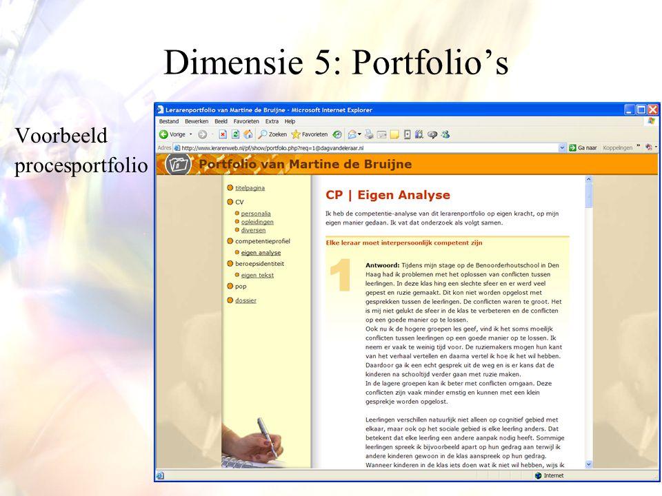 Voorbeeld procesportfolio Dimensie 5: Portfolio's