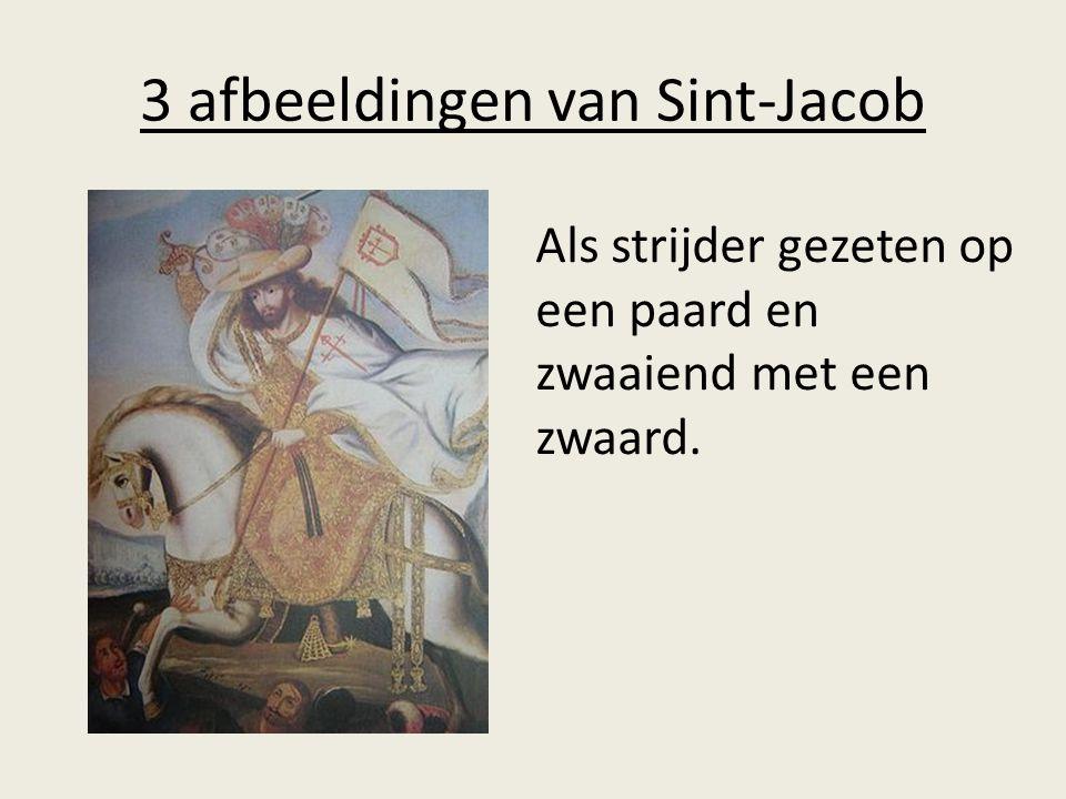 3 afbeeldingen van Sint-Jacob Als strijder gezeten op een paard en zwaaiend met een zwaard.