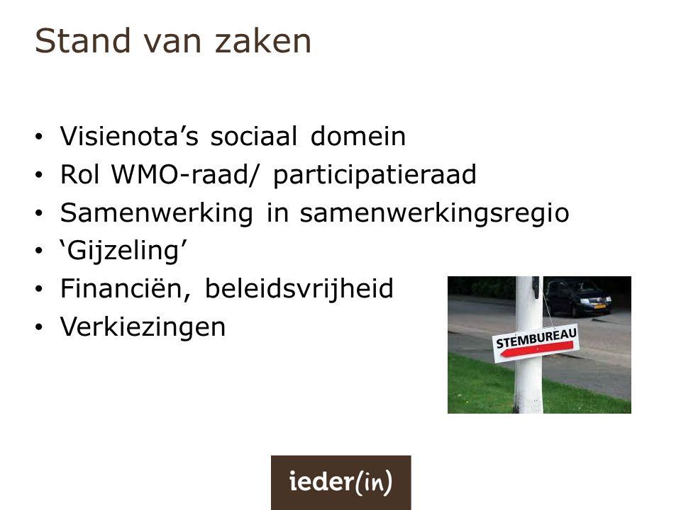 Stand van zaken • Visienota's sociaal domein • Rol WMO-raad/ participatieraad • Samenwerking in samenwerkingsregio • 'Gijzeling' • Financiën, beleidsv