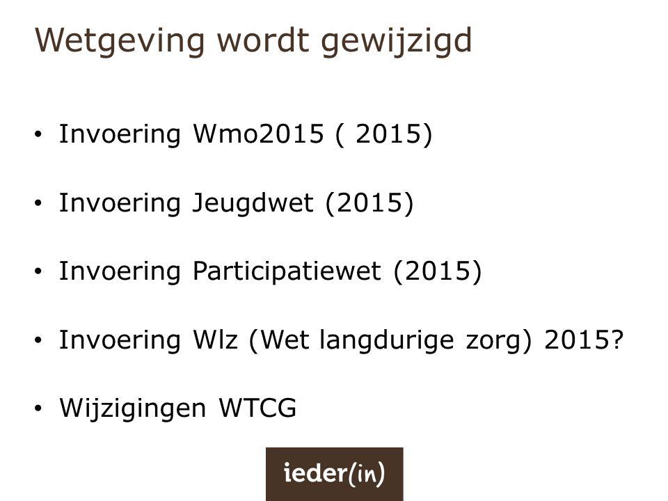 Wetgeving wordt gewijzigd • Invoering Wmo2015 ( 2015) • Invoering Jeugdwet (2015) • Invoering Participatiewet (2015) • Invoering Wlz (Wet langdurige z