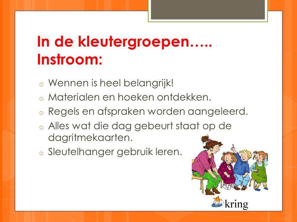 In de kleutergroepen…..Instroom: o Wennen is heel belangrijk.