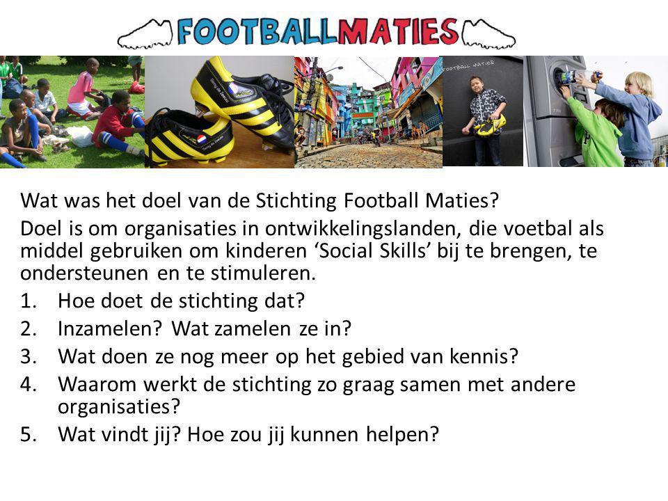 Wat was het doel van de Stichting Football Maties.