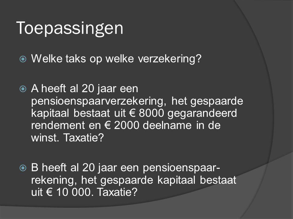 Toepassingen  Welke taks op welke verzekering?  A heeft al 20 jaar een pensioenspaarverzekering, het gespaarde kapitaal bestaat uit € 8000 gegarande