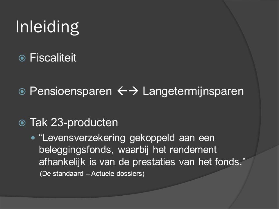 """Inleiding  Fiscaliteit  Pensioensparen  Langetermijnsparen  Tak 23-producten  """"Levensverzekering gekoppeld aan een beleggingsfonds, waarbij het"""