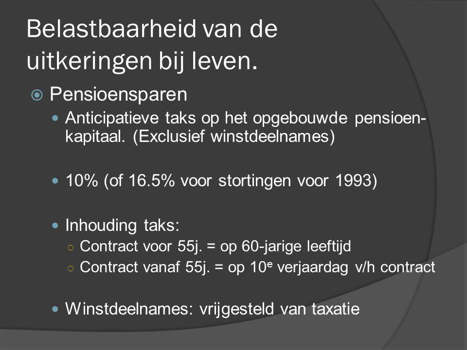 Belastbaarheid van de uitkeringen bij leven.  Pensioensparen  Anticipatieve taks op het opgebouwde pensioen- kapitaal. (Exclusief winstdeelnames) 
