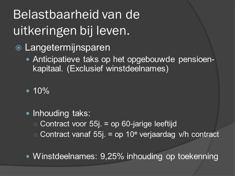 Belastbaarheid van de uitkeringen bij overlijden  Pensioensparen  Heffing van 10 % op overlijdenskapitaal indien anticipatieve taks nog niet betaald.