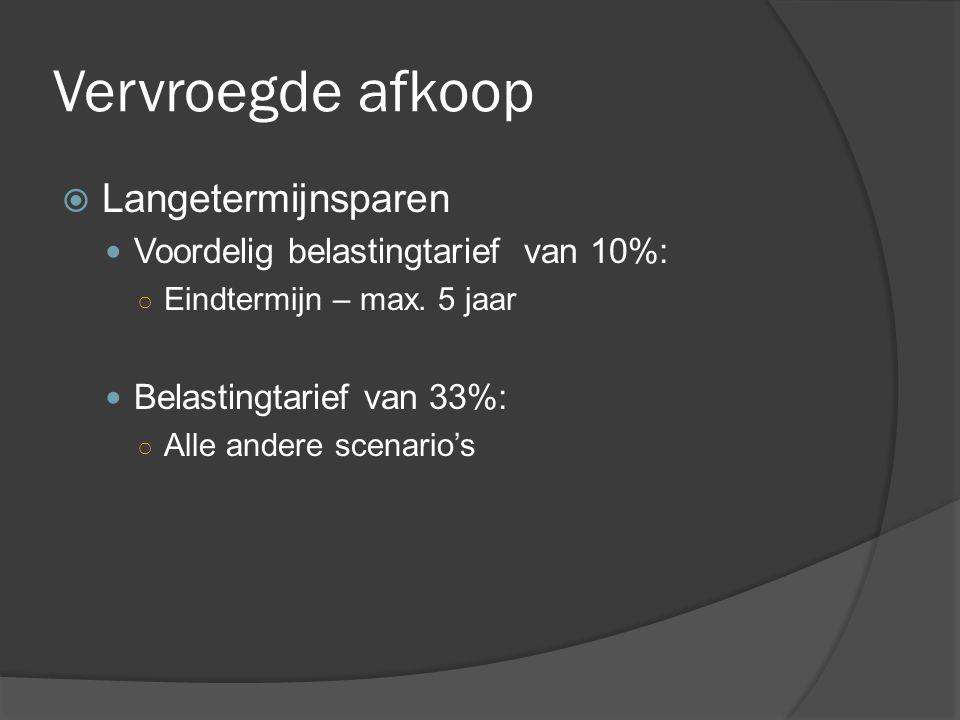 Vervroegde afkoop  Langetermijnsparen  Voordelig belastingtarief van 10%: ○ Eindtermijn – max. 5 jaar  Belastingtarief van 33%: ○ Alle andere scena
